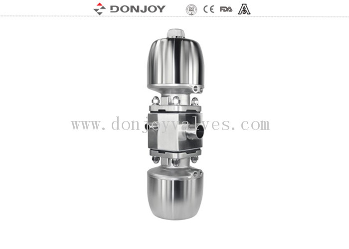 DN25 Multiport Sanitary Diaphragm Valve , Three Ports Two Control Valves
