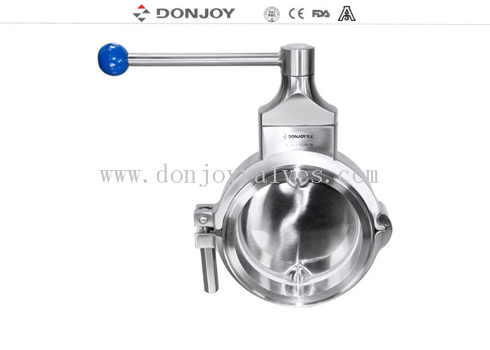 Sanitary grade manual butterfly valve multi - position handle for regulating flow