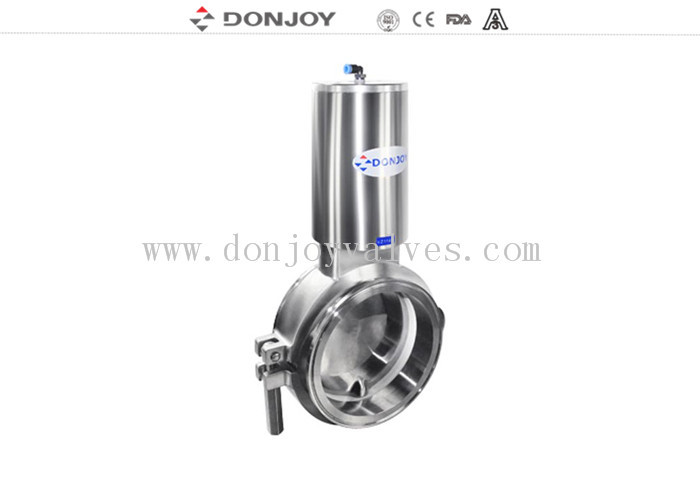 Single acting Normal Open Sanitary level 3 inch powder butterfly valves with stainless steel actuator