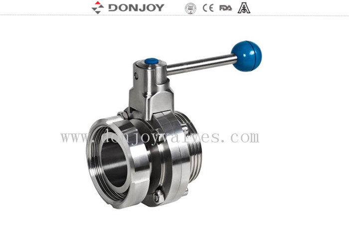 DN10-DN300 sanitary stainless steel butterfly valves with union ends