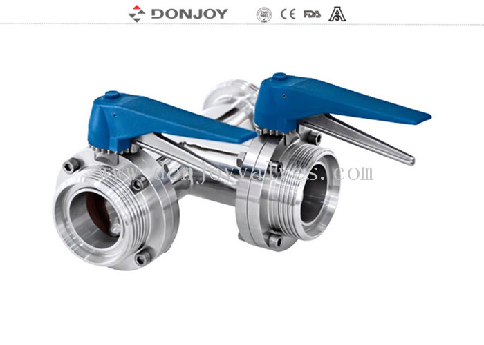 SS 304 / 316 sanitary level three-way butterfly valve with plastic multi-position handle